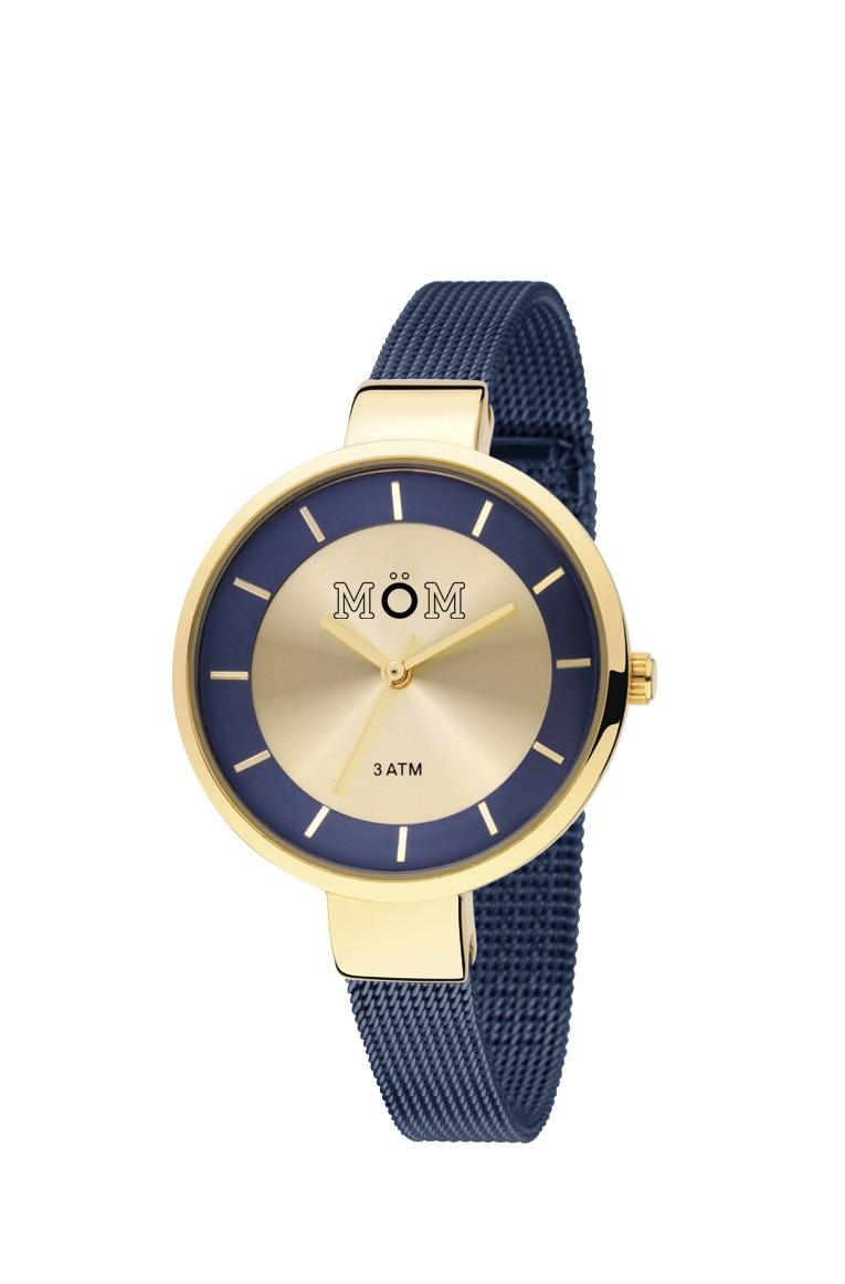 reloj dorado correa malla azul 3 atmósferas